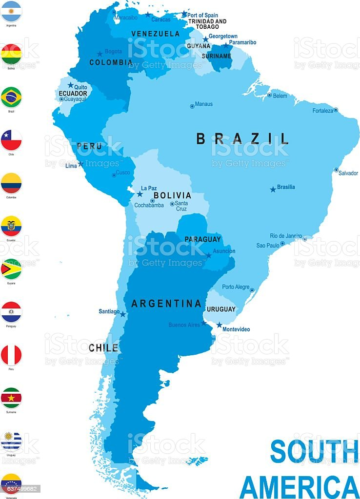 Blue Map Of South America With Flag Against White Background ...