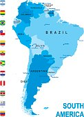Blue map of South America with flag against white background. The url of the reference to political map is: http://www.lib.utexas.edu/maps/world_maps/united_states_foreign_service_posts-september_2011.pdf