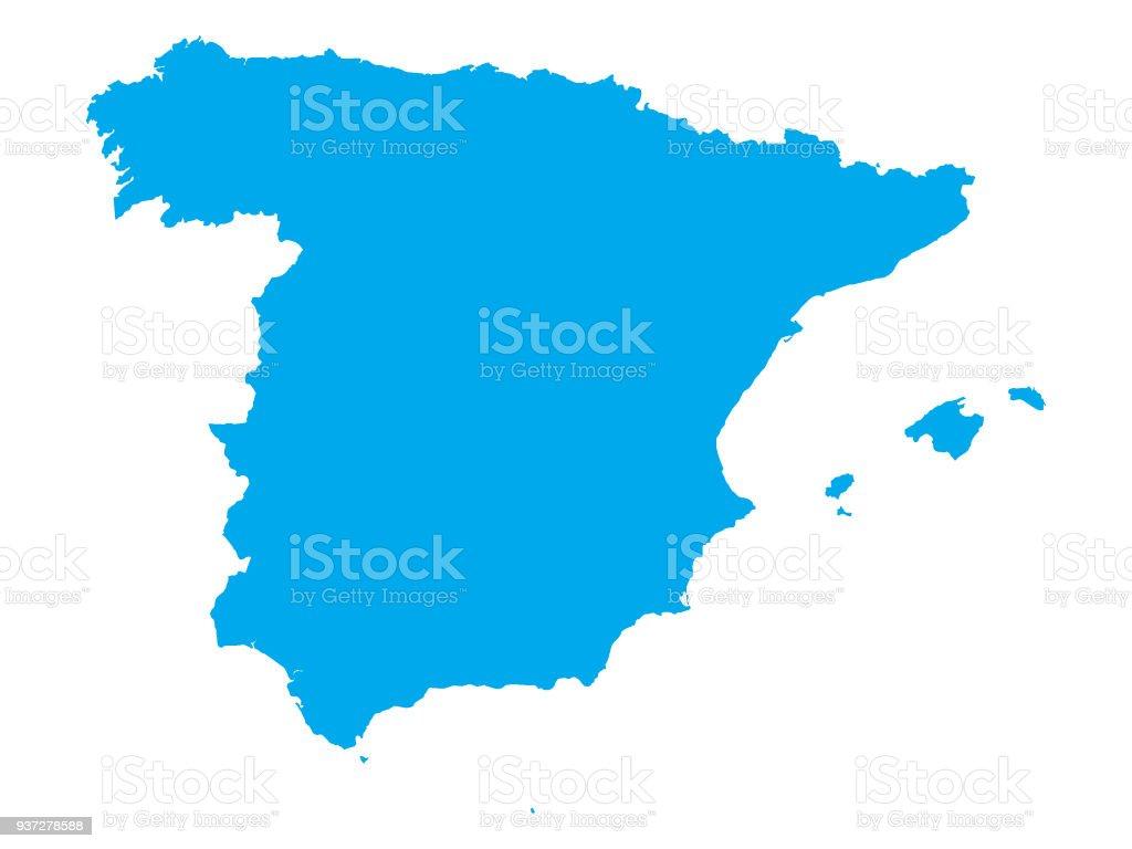 Carte De Lespagne Barcelone.Carte Bleue De Lespagne Vecteurs Libres De Droits Et Plus D Images