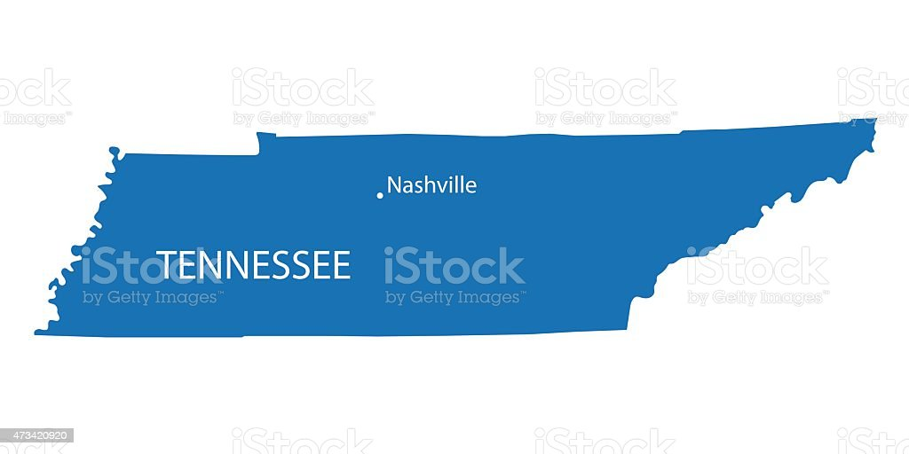 blue map of Tennessee vector art illustration