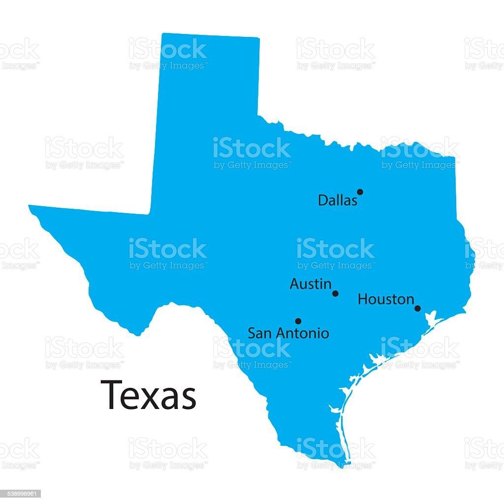 blue map of Texas vector art illustration