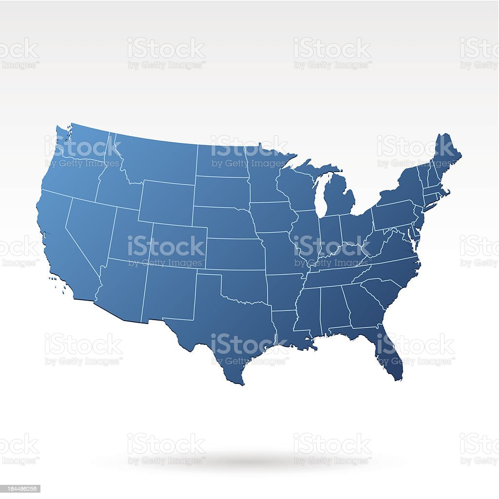 A blue map of the USA on a white background royalty-free stock vector art