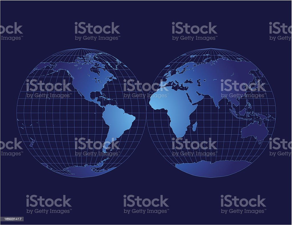 A blue map of the world on a blue background  royalty-free stock vector art