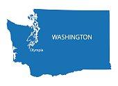 blue map of Washington