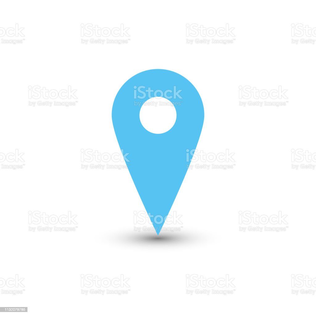 Blue map pointer with dropped shadow on white background. EPS10 vector illustration