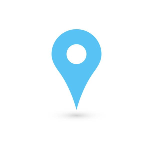 ilustraciones, imágenes clip art, dibujos animados e iconos de stock de puntero de mapa azul con sombra caída sobre fondo blanco. ilustración vectorial eps10 - íconos de mapas