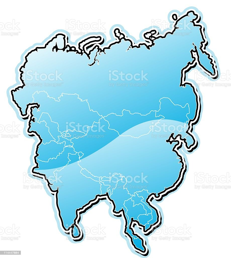 Blue map series Asia royalty-free stock vector art