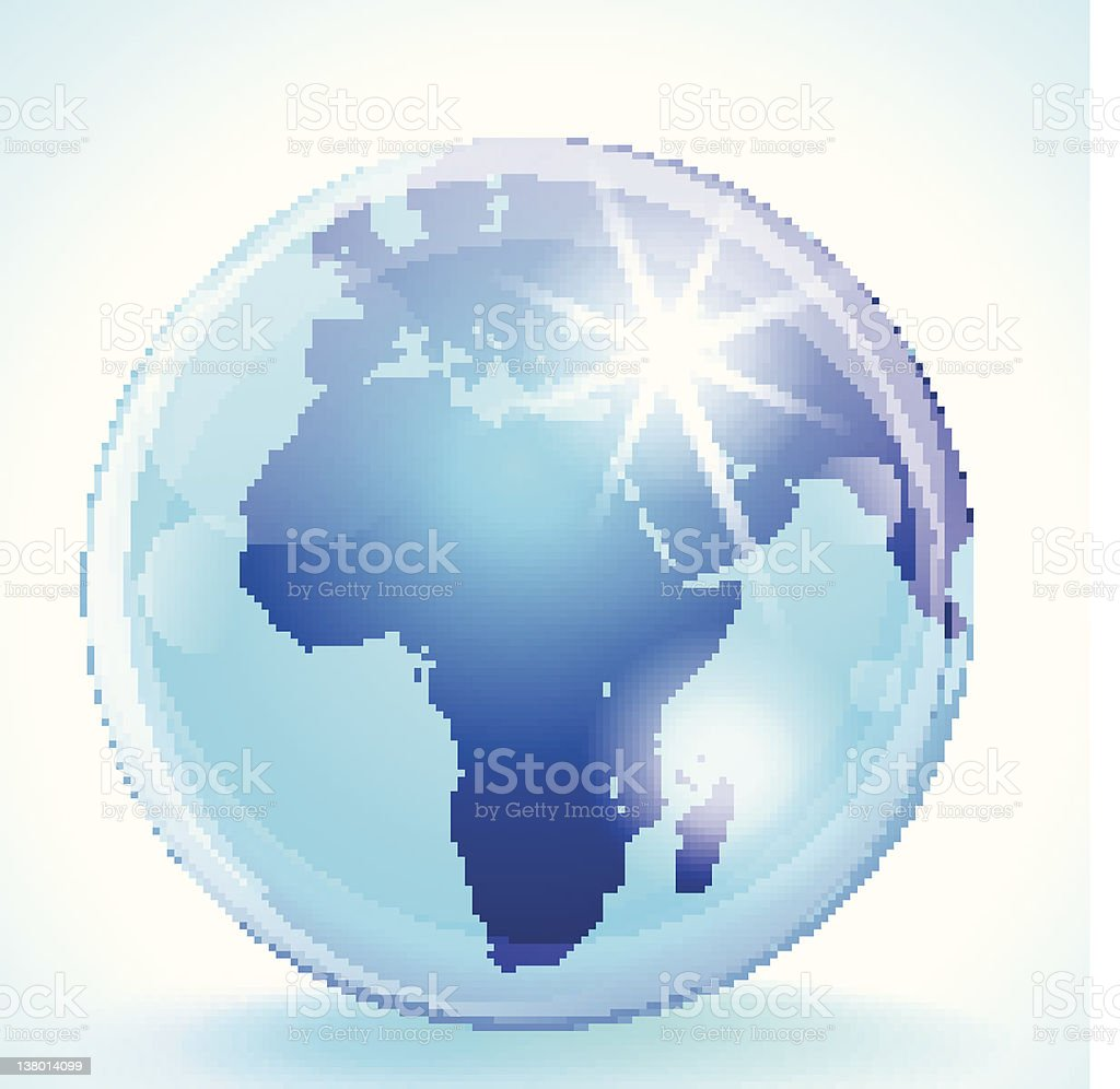 Blue marble globe showing Europe, Africa and the Middle East royalty-free stock vector art