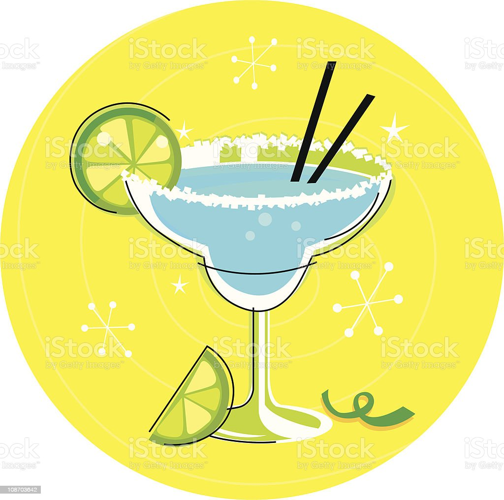 Blue Margarita: Retro cocktail icon on yellow background vector art illustration