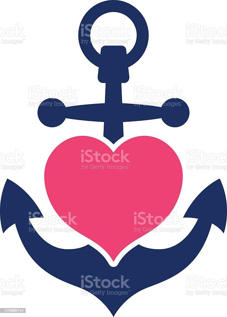 Blauer marine Anker mit einem rosa Herz – Vektorgrafik