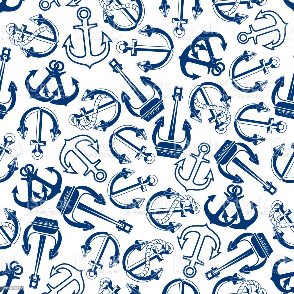 Blue marine ships anchors seamless pattern vector art illustration