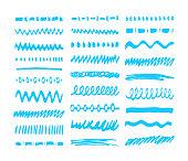 Blue Marker strokes set