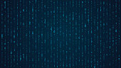 Blue matrix background. Falling binary numbers in retro futuristic style, abstract digital wallpaper for program code events, hackathon, vector cyber illustration.
