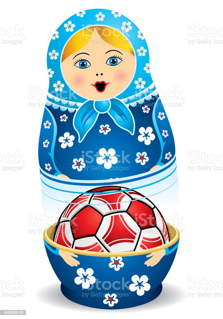 Blue matryoshka opening with a red soccer ball inside it on white background. Matryoshka doll also known as a Russian nesting doll is a set of wooden dolls of decreasing size vector art illustration