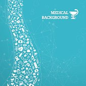 Blue medical background with text. Eps10. Contains blending mode objects.