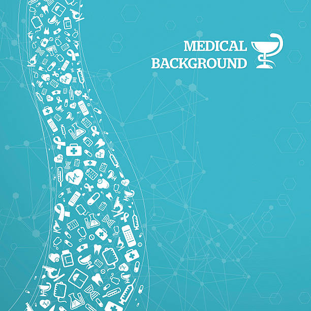 Blue medical background with text vector art illustration