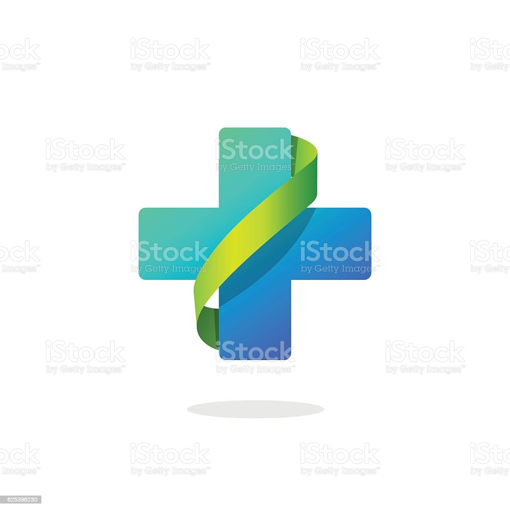 Blue medical cross vector logo, pharmacy symbol with green ribbon - ilustración de arte vectorial
