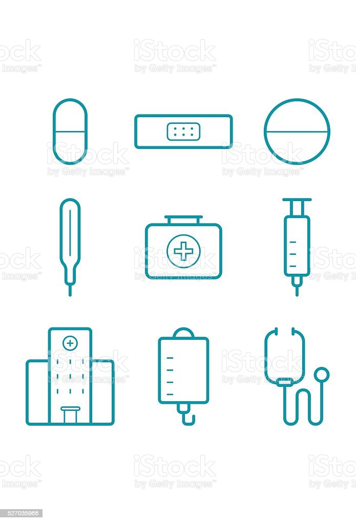 Blue Medical Icons Set vector art illustration