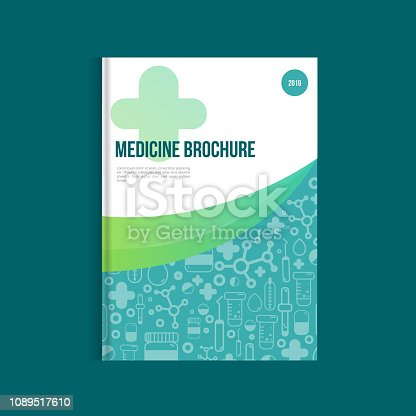 Blue medicine brochure for advertising with outline icons. Health layout concept.