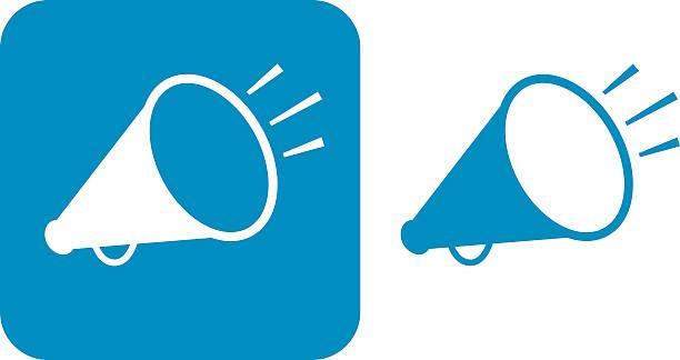 stockillustraties, clipart, cartoons en iconen met blue megaphone icons - cheering