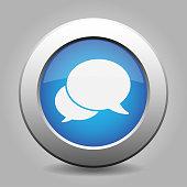Blue metallic button with shadow. Two white speech bubbles icon.