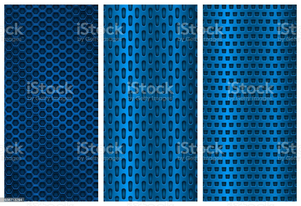 blue metal perforated backgrounds brochure design templates steel