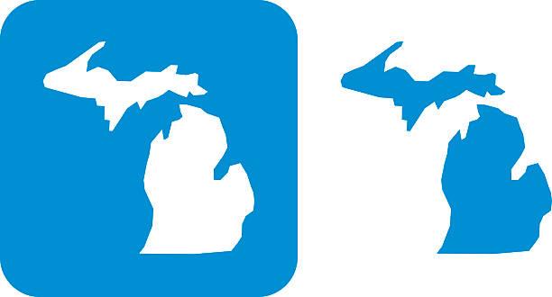 stockillustraties, clipart, cartoons en iconen met blue michigan icon - michigan
