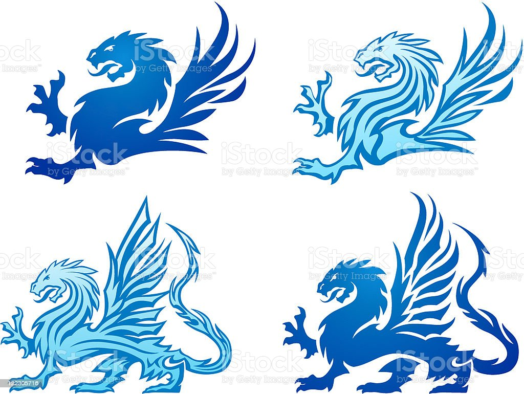 Blue Mighty Dragon Silhouettes vector art illustration