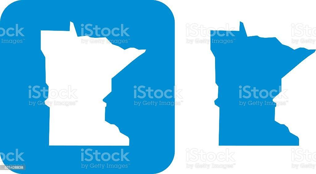 Blue Minnesota Icon vector art illustration