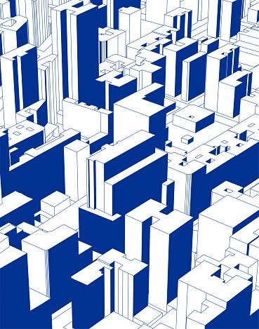 blue modern city building illustration poster
