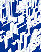 blue modern city building illustration poster