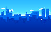 Modern city urban downtown blue background with space for your copy.