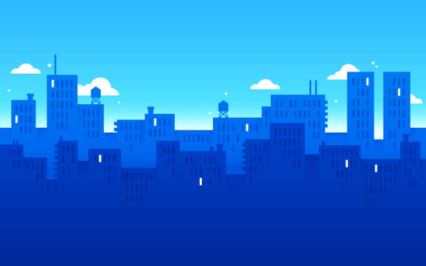 Blue Modern City Urban Background Modern city urban downtown blue background with space for your copy. backgrounds silhouettes stock illustrations