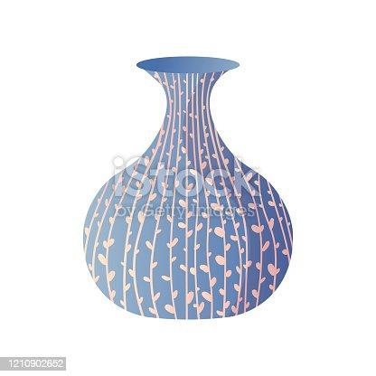 Blue modern plant line drawing room vase