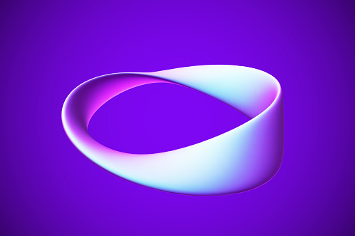 3D blue Moebius strip isolated on white background. Concept of eternity, endless and limitless income.
