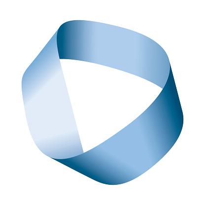 Blue Moebius strip or Moebius band