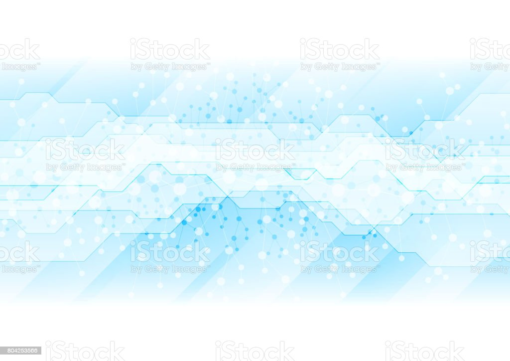 DNA blue molecules technology abstract background vector art illustration