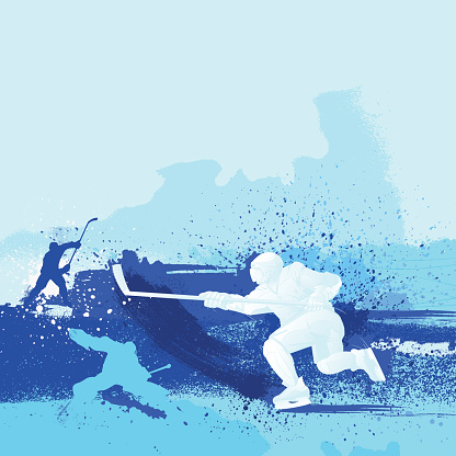 Blue monochrome illustrated hockey design