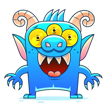 Blue Monster Cartoon Vector Sketch Stock Illustration On A Background. For Design, Decoration