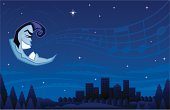 Retro Moon Singing the Blues - High res JPG included