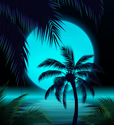 Blue moon with Palm Trees