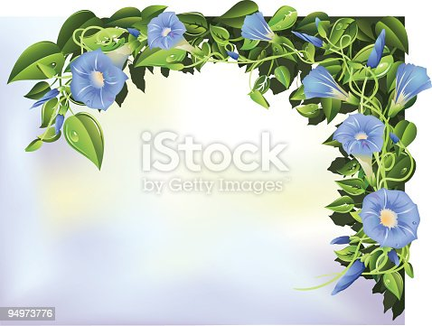 Morning Glories against a soft background. Layered.