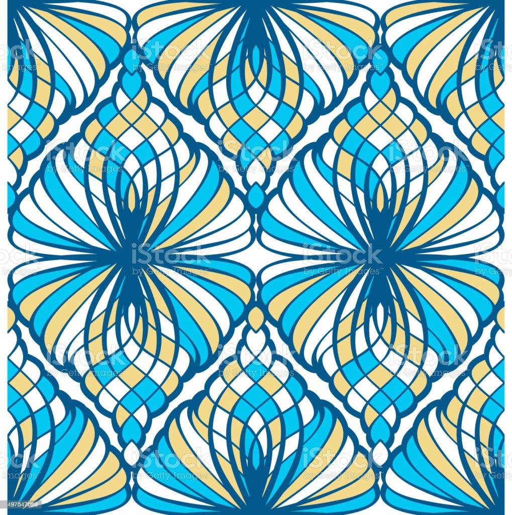 Blue Mosaic Seamless Pattern vector art illustration