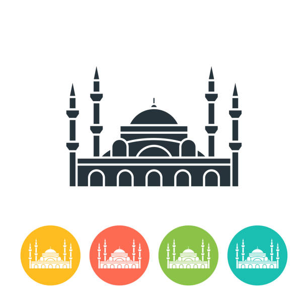 Blue Mosque flat icon - color illustration vector art illustration