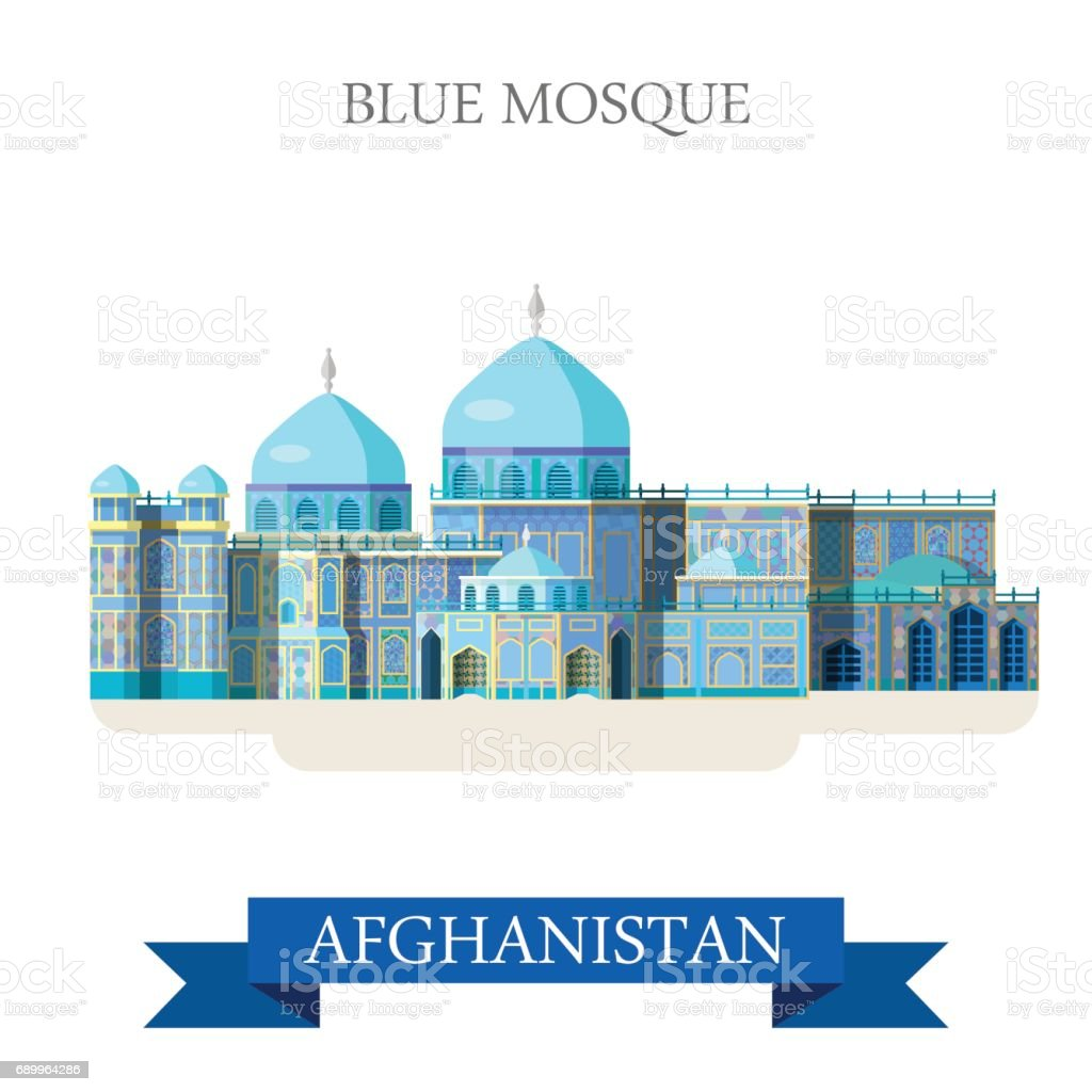 Blue Mosque in Afghanistan. Flat cartoon style historic sight showplace attraction web site vector illustration. World countries cities vacation travel sightseeing Asia Afghan collection. vector art illustration