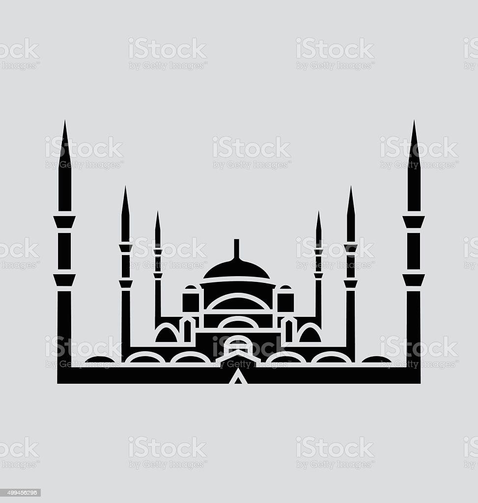 Blue Mosque, Istanbul Solid Vector Illustration vector art illustration