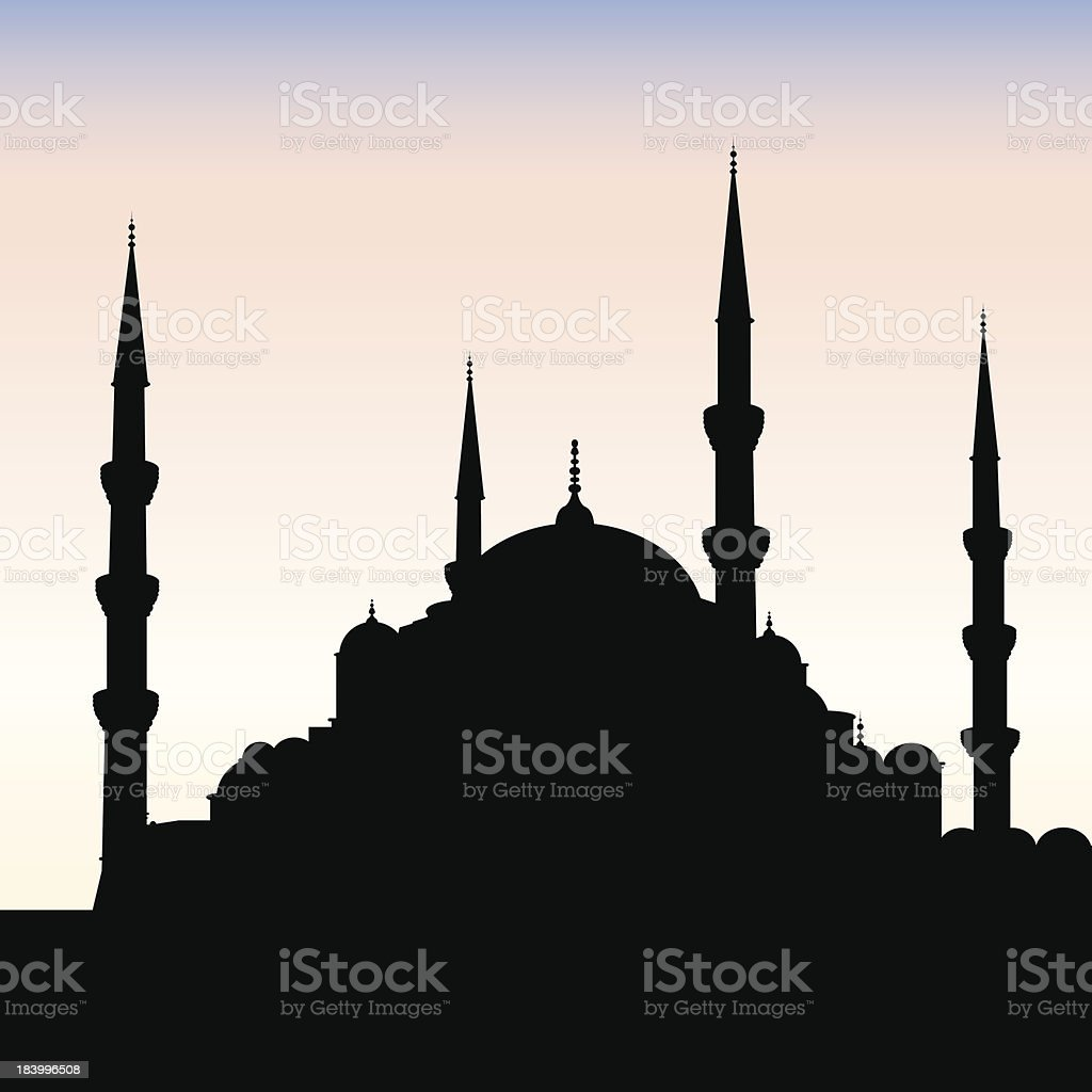 Blue Mosque Silhouette, Istanbul royalty-free stock vector art