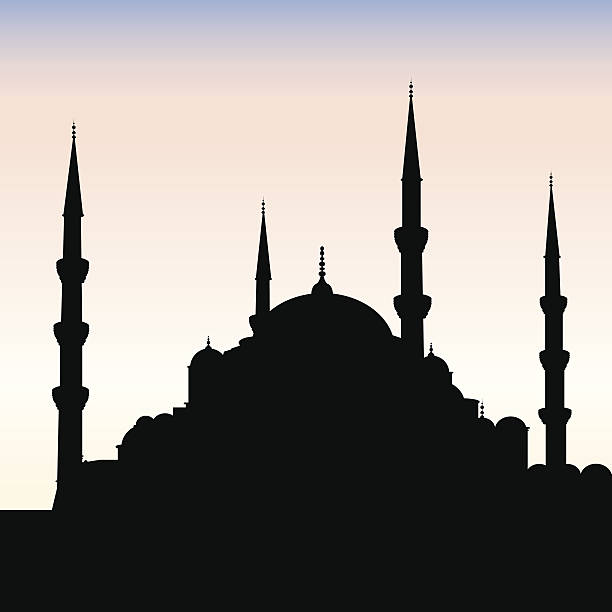 Blue Mosque Silhouette, Istanbul vector art illustration
