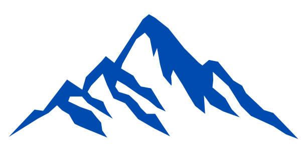 illustrazioni stock, clip art, cartoni animati e icone di tendenza di blue mountain silhouette on white background – stock vector - monte bianco