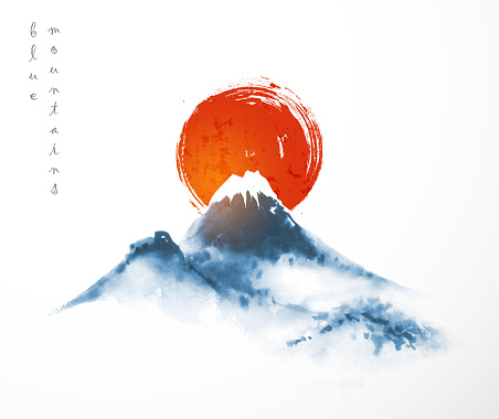 Blue mountains and big red sun, symbol of Japan. Traditional Japanese ink wash painting sumi-e on white background. Fujiyama mountain.